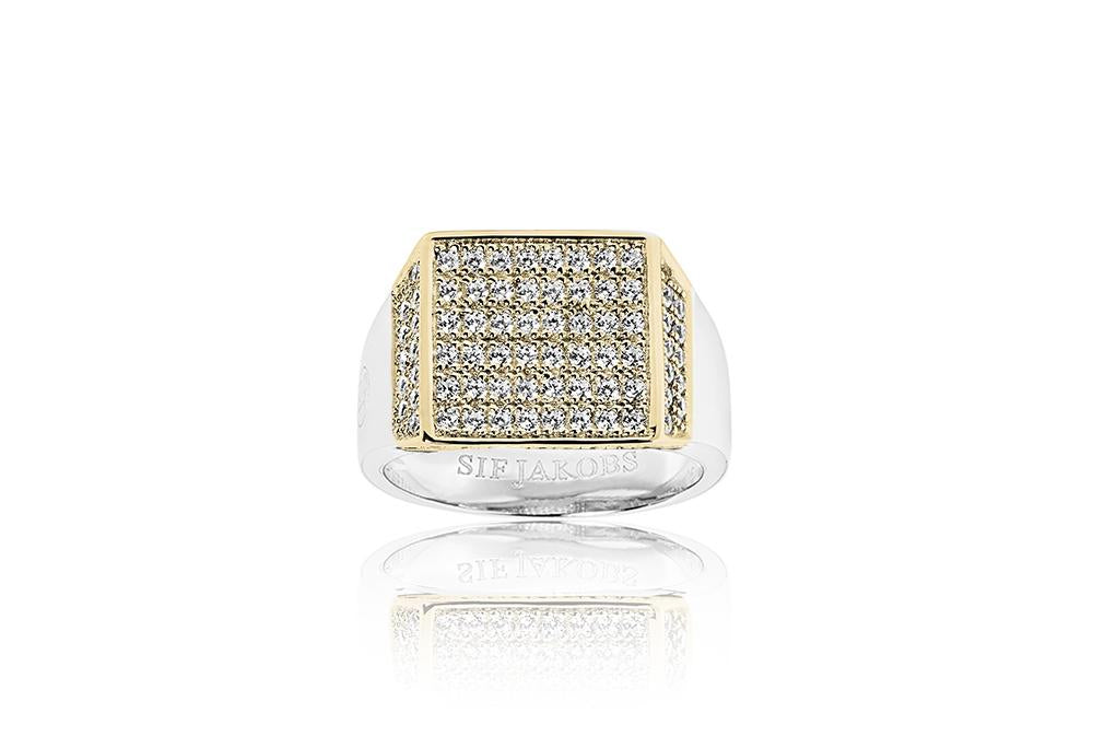 Signet Ring Novello Piazza - 18k gold plated with white zirconia