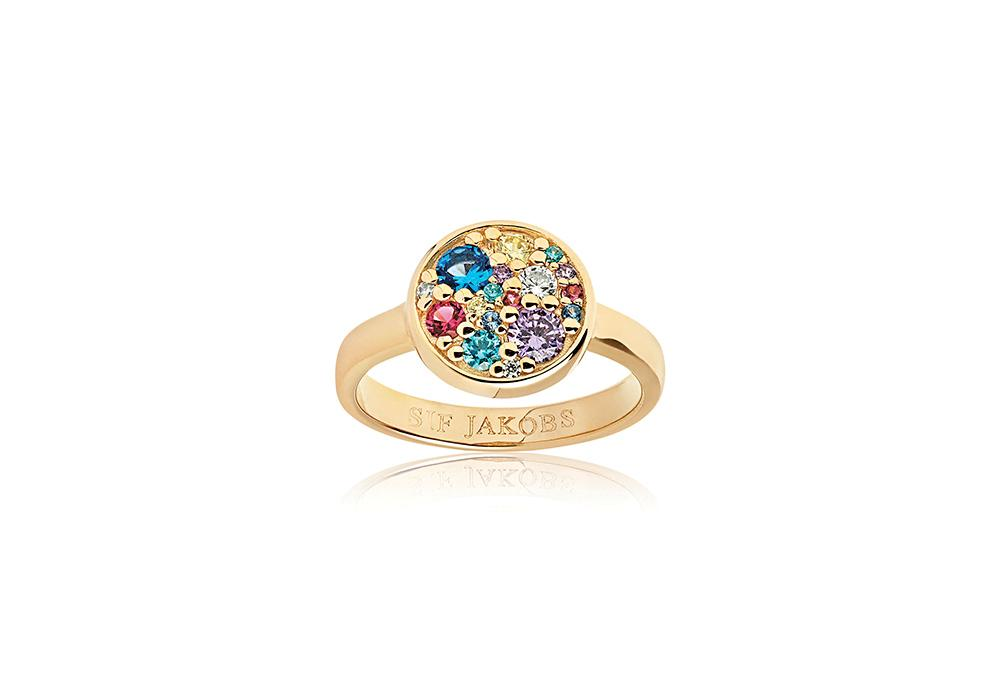 Ring Novara - 18k gold plated with multicoloured zirconia