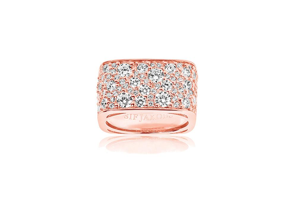 Ring Novara Quadrato - 18k rose gold plated with white zirconia