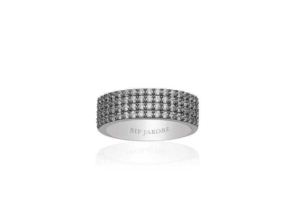 Ring Corte Quattro with white zirconia