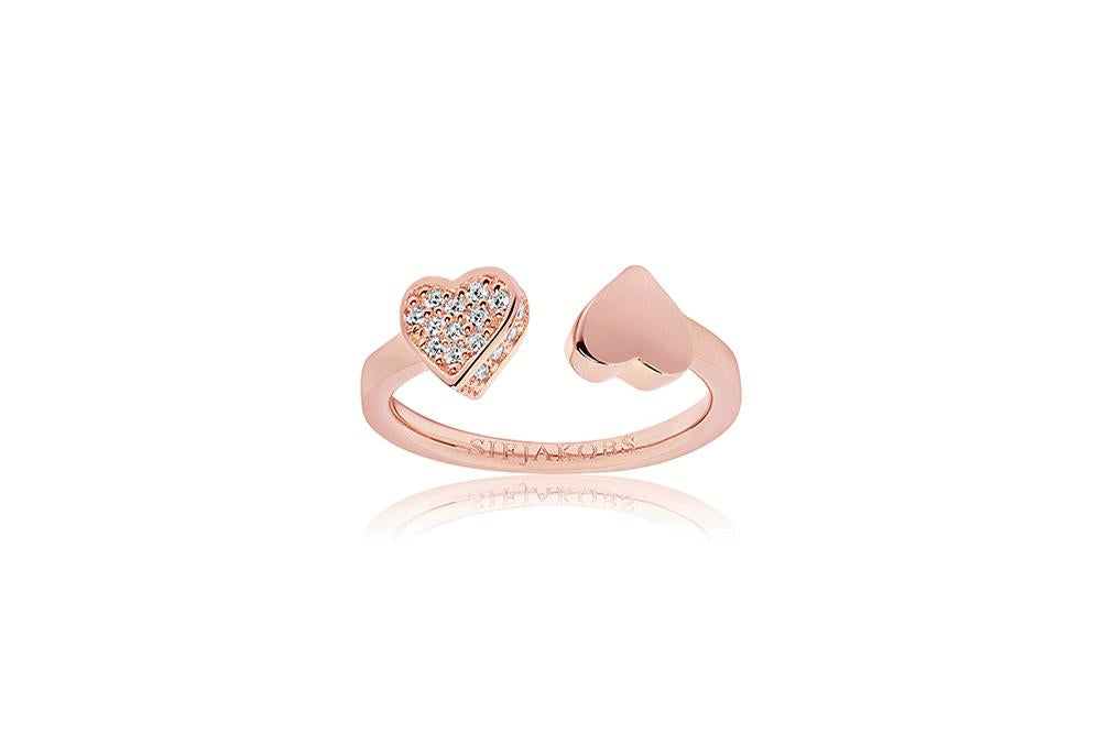 Ring Amore - 18k rose gold plated with white zirconia