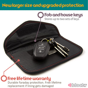 comparison of the large keyless RFID pouch against a normal size set of housekeys