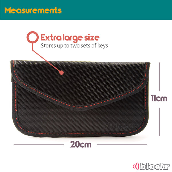 carbon fibre style keyless car key pouch stood upright, shows measurements a 20cm by 11cm