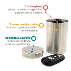 keyblockr feature list - faraday lining, scanner resistant container, seamless lid prevents signal escaping
