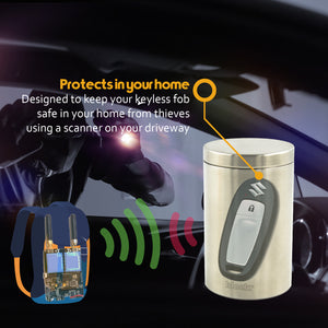 how to protect a keyless car theft by adding a keyless fob into a blocking tin