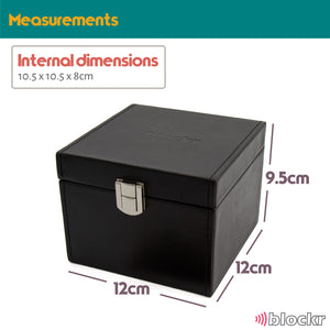 measurements of the black keyblockr - 12cm x 12cm x 9.5 cm. Large enough for 2 or 3 full sets of keys