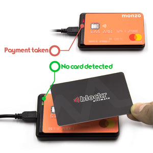 Blockr Ultimate being tested on a card payment unit