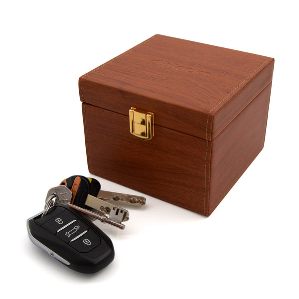 keyless car fob in front of a key protection box