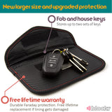 Keyless car key fob and house keys on top of a Keyblockr pouch