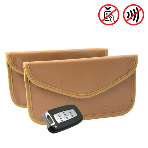 Keyless car protector pouches - Tan PU leather twin pack