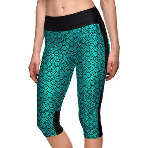 Mermaid Turquoise Capri Leggings