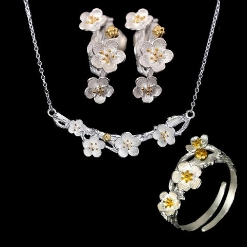 Sterling Silver Plum Flower Jewelry Sets