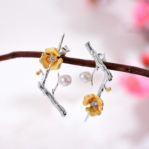 Delicate Plum Blossom Flower Earrings