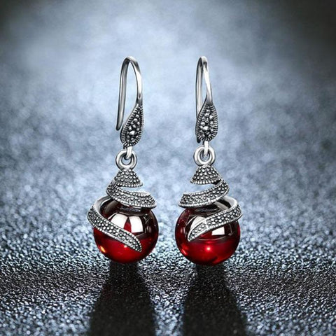 Red Garnet Spiral Drop Earrings