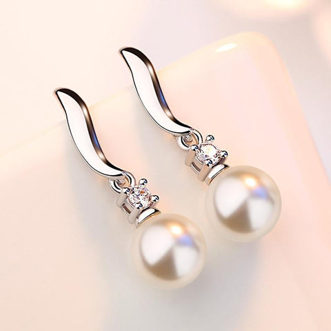 Silver Stud Pearl Earrings