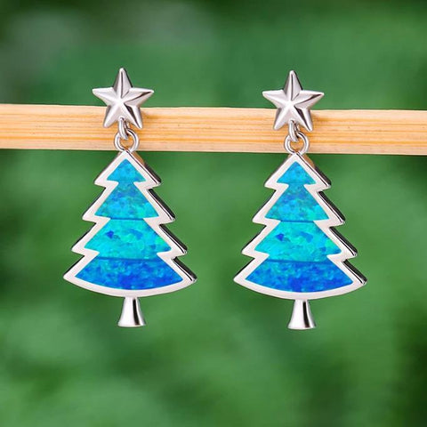 Opal Christmas Tree Earrings