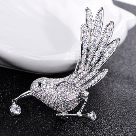 Crystal Drop Bird Brooches