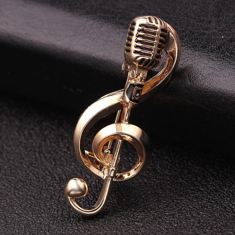 Musical Microphone Brooches