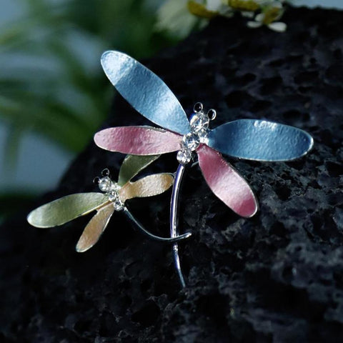 Double Dragonfly Crystal Brooches