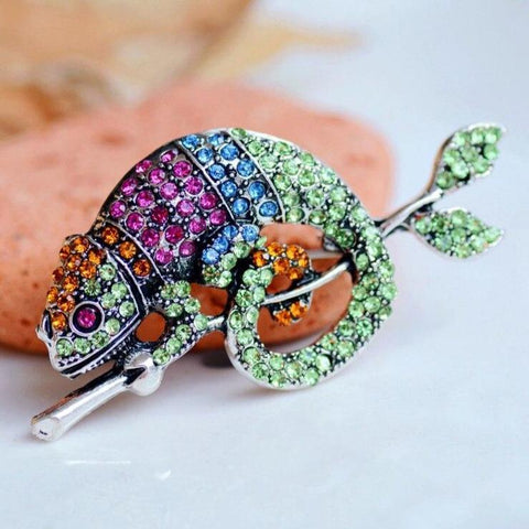 Colourful Chameleon Brooches