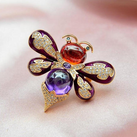 Vibrant Crystal Bee Brooches