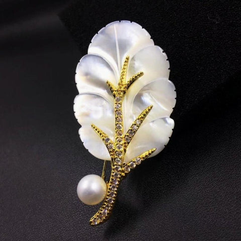 Natural Shell Leaf Brooches