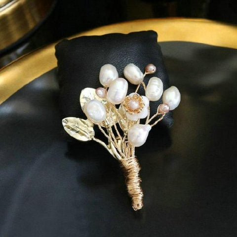 Pearl Flower Bouquet Brooches