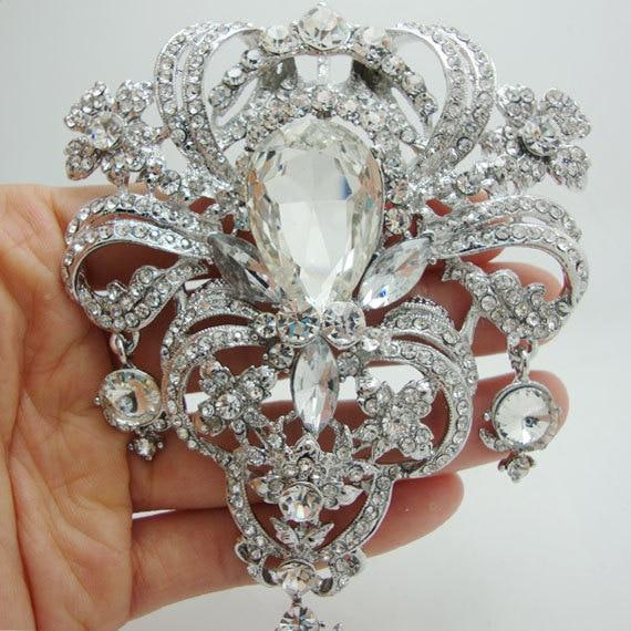 Luxury Wedding Flower Drop Brooch