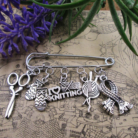 I Love Knitting Charm Brooches