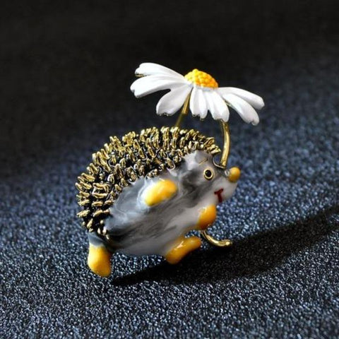 Adorable Hedgehog Daisy Brooches