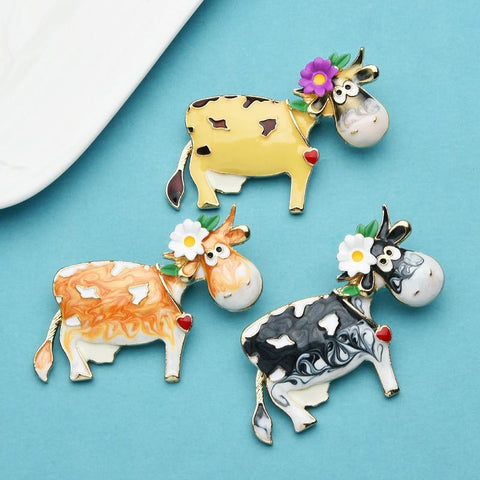 Adorable Flower Cow Brooches