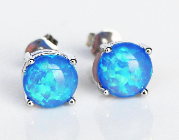 Black Fire Opal Stud Earrings