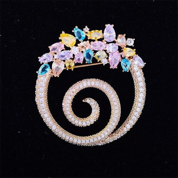 Crystal Swirl Brooches