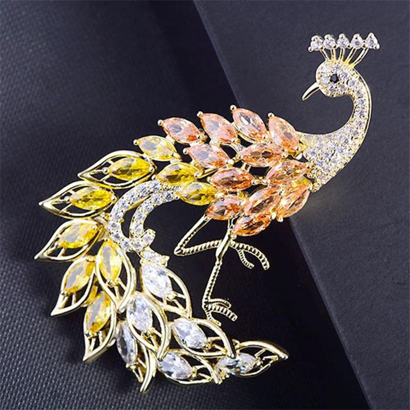 Majestic Crystal Peacock Brooches