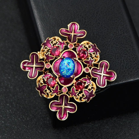 Colourful Baroque Cross Brooches