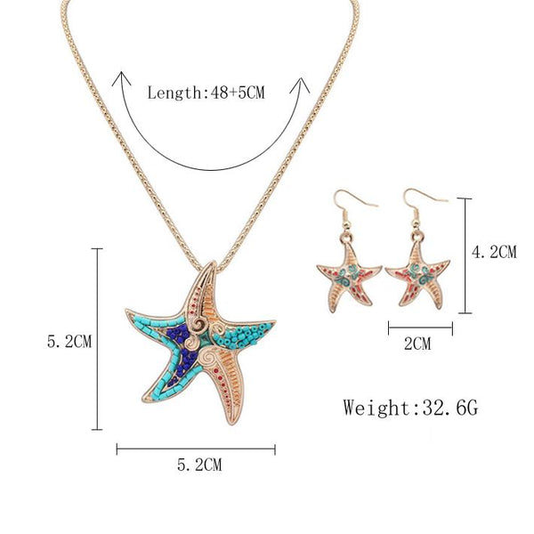 Boho Starfish Necklace & Earrings