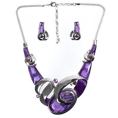 Acrylic and Silver Swirl Jewelry Set