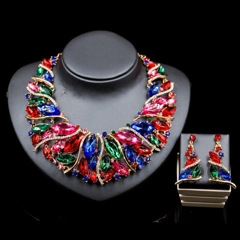 African Gem Choker and Earrings Set