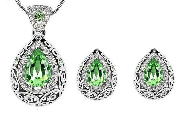 African Crystal Pendant & Earring Sets