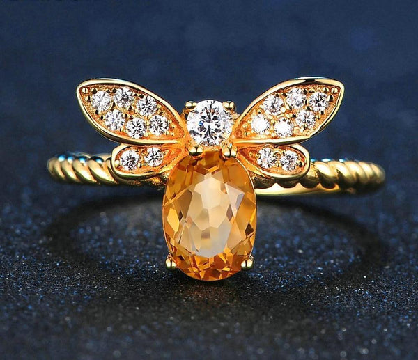 Citrine Gem Bee Ring
