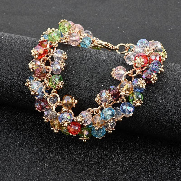 Rainbow Crystal Cluster Jewelry Set