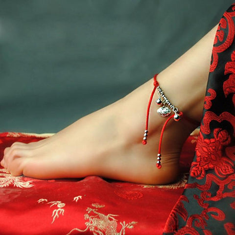 Red Ribbon Lucky Bell Ethnic Anklet
