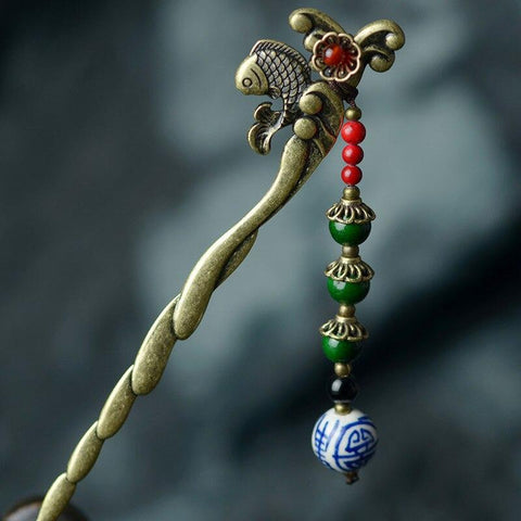 Ethnic Fish Flower Charm Natural Stone Hair Stick