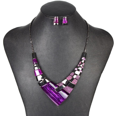 Purple Aztec Pulse Jewelry Set