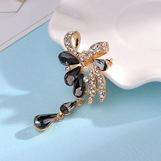 Crystal Bow Bouquet Brooch