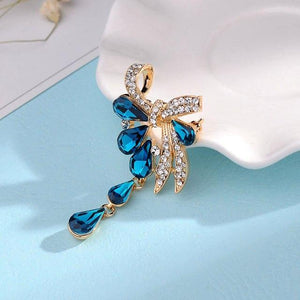Crystal Bouquet Bow Brooch