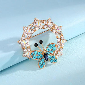 Exquisite Butterfly Wreath Brooch