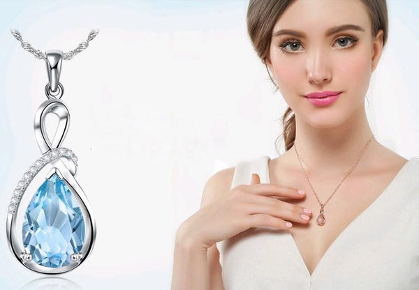Angel charm water drop necklace