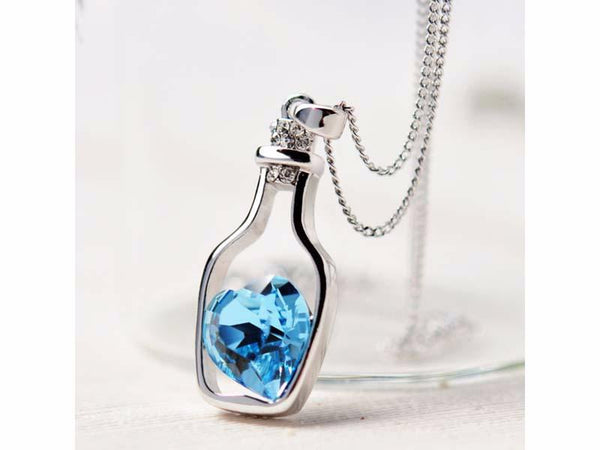 Crystal Heart in a Bottle Necklaces