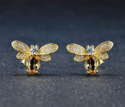 Citrine Gem Bee Earrings